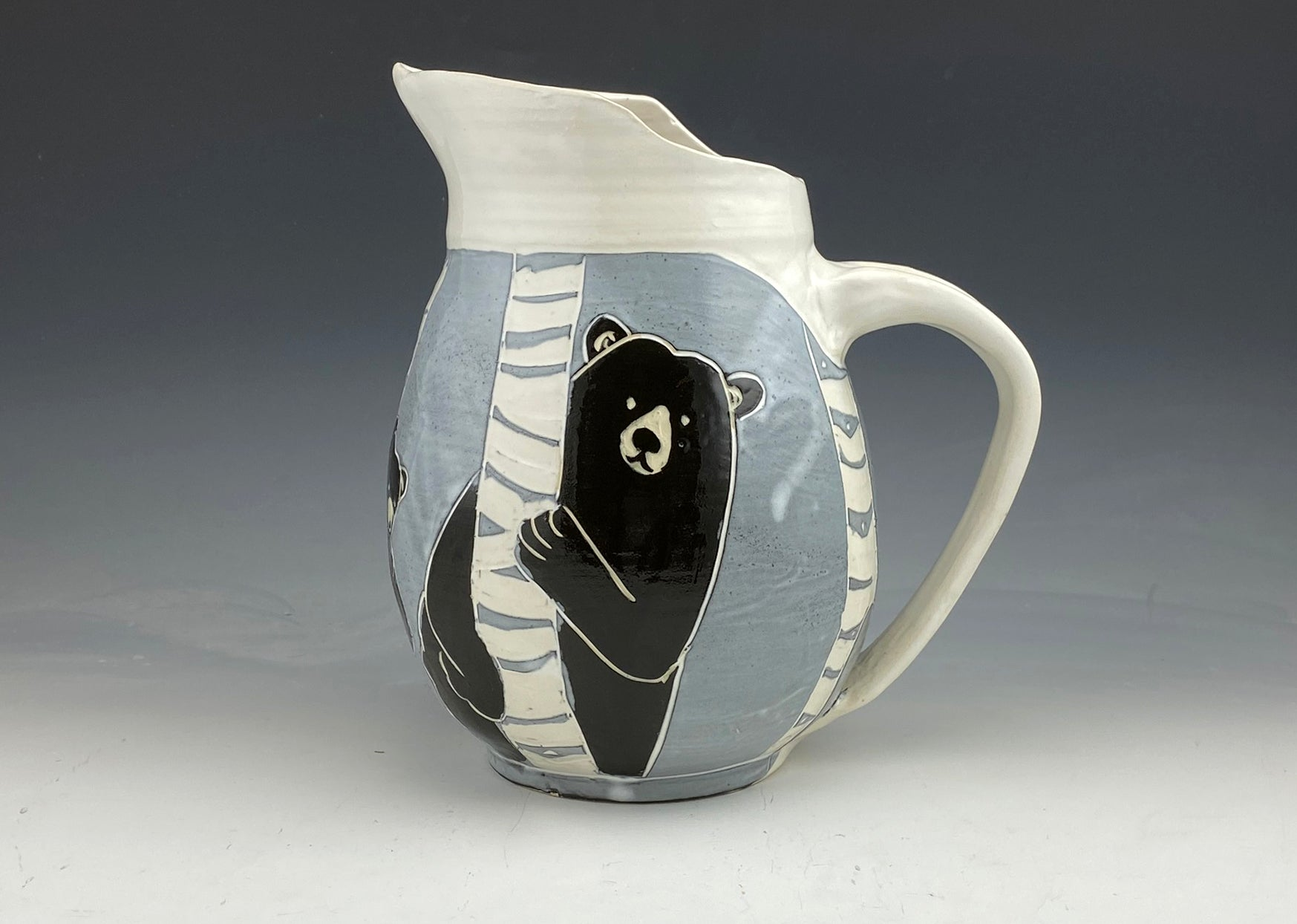 Large Sgraffito Black Bear Ceramic Pitcher in Black and White