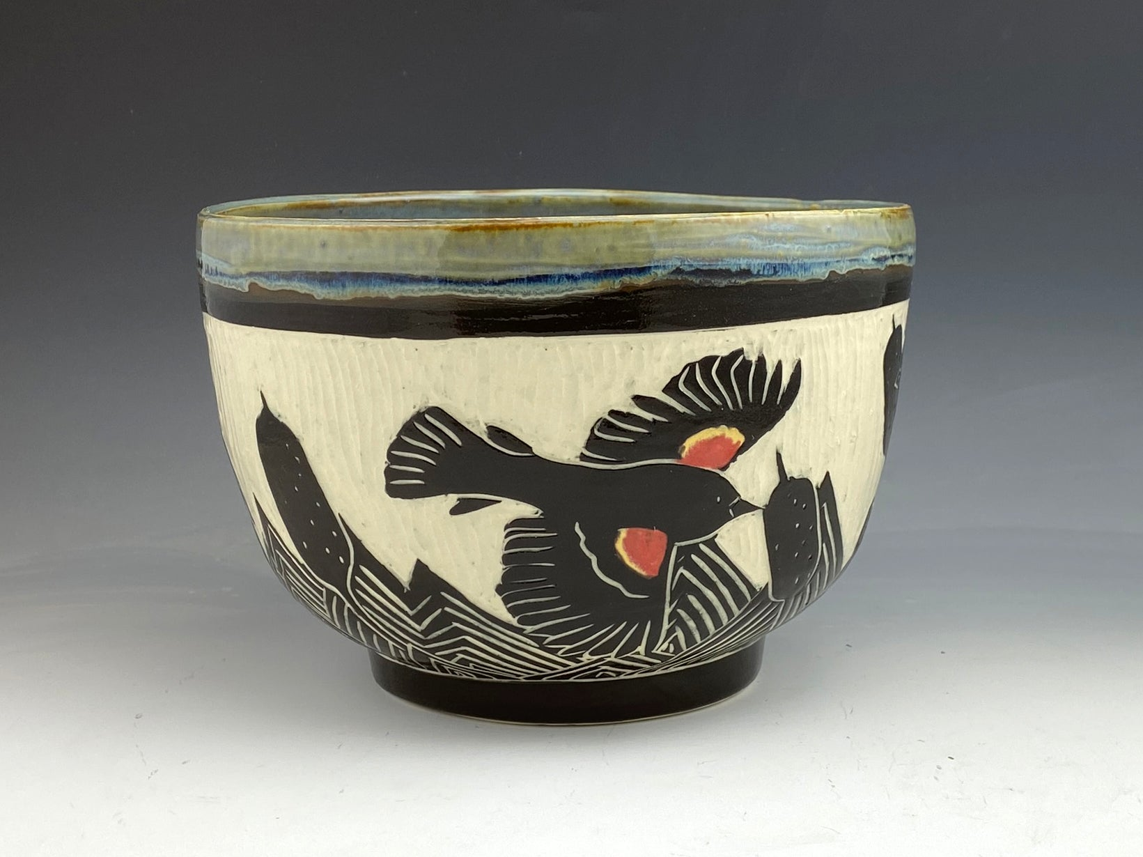 Red Winged Blackbird Serving Bowl in Gray Handmade Sgraffito Pottery