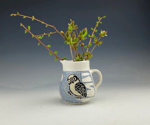 Small creamer pitcher in white sgraffito handmade pottery