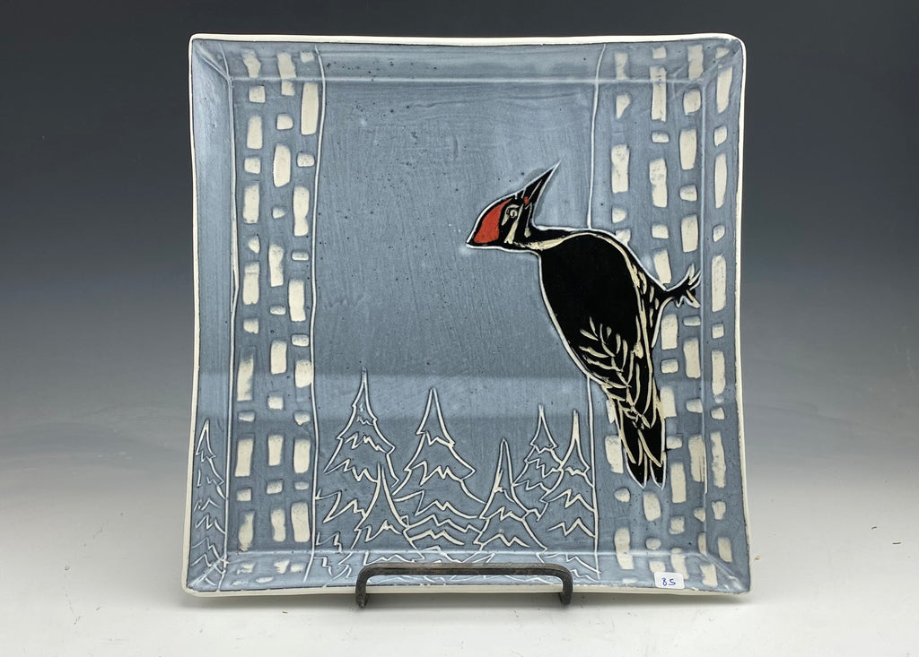 Woodpecker square serving plate in black and white handmade sgraffito pottery