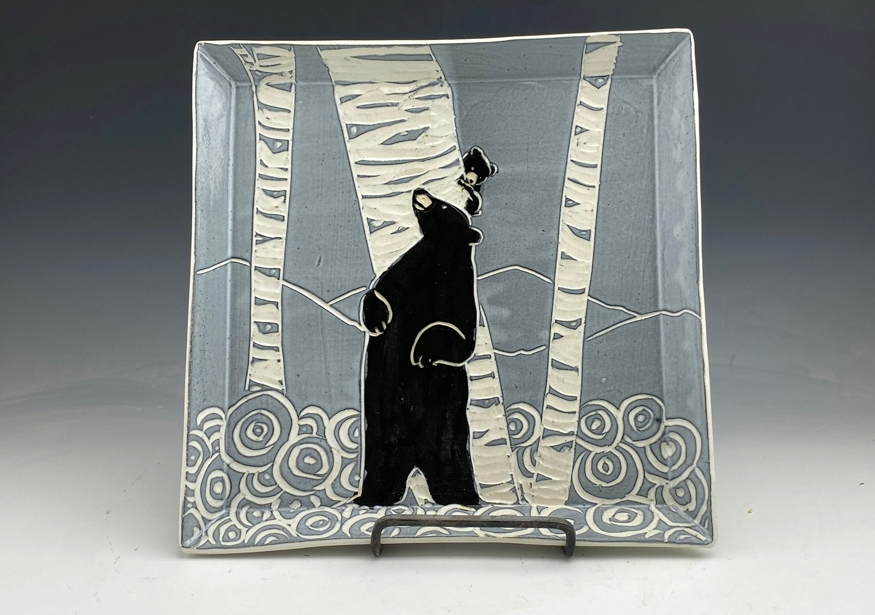 Square Bear Serving plate in black and white Handmade sgraffito pottery
