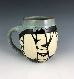 Sgraffito Birch Mug Gray Glaze
