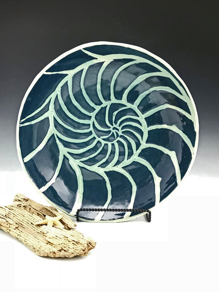 Nautilus Sgraffito Pottery Large Shallow Bowl in Blue