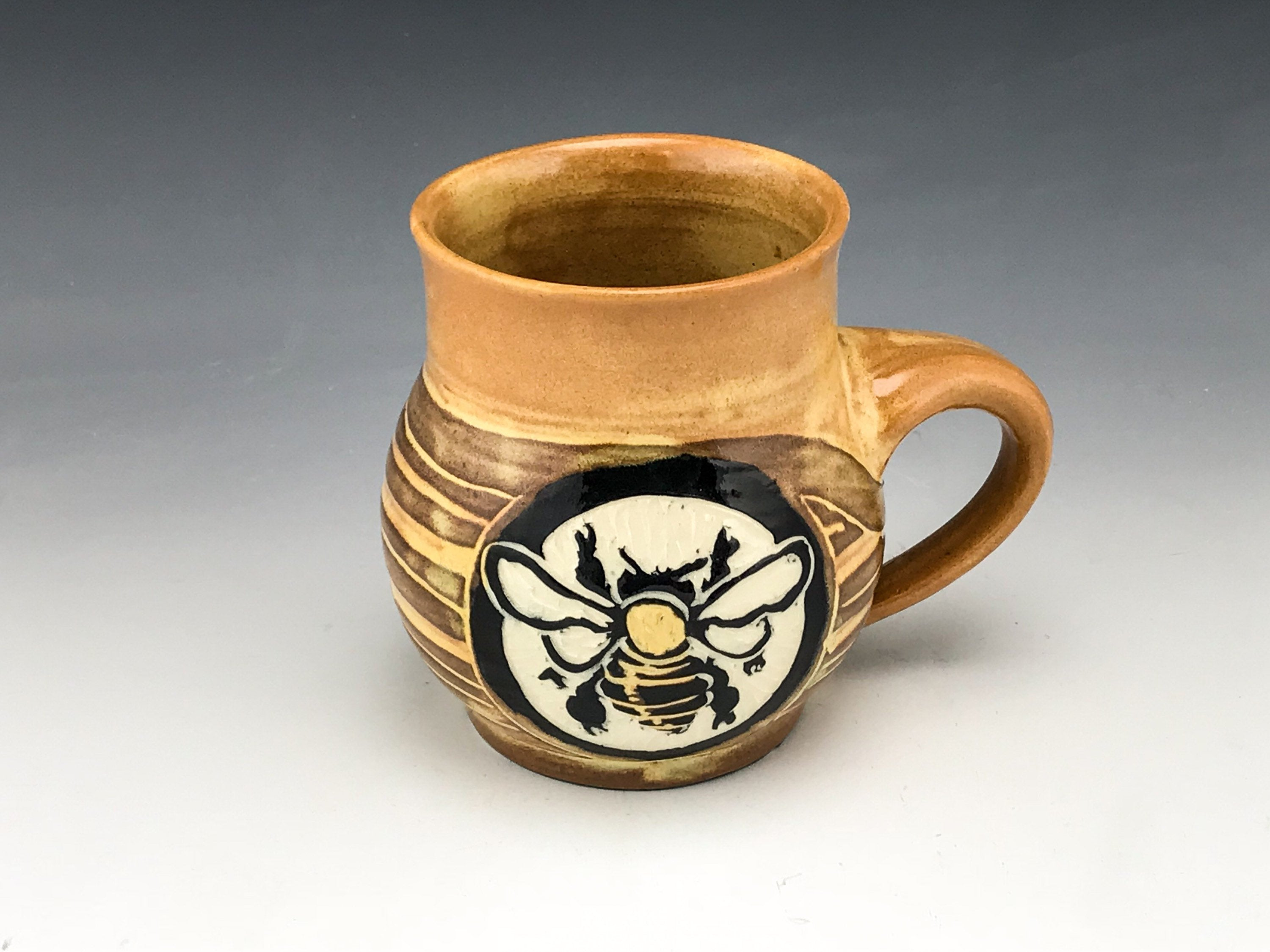 Sgraffito Handmade Pottery Bee Mug in Gold