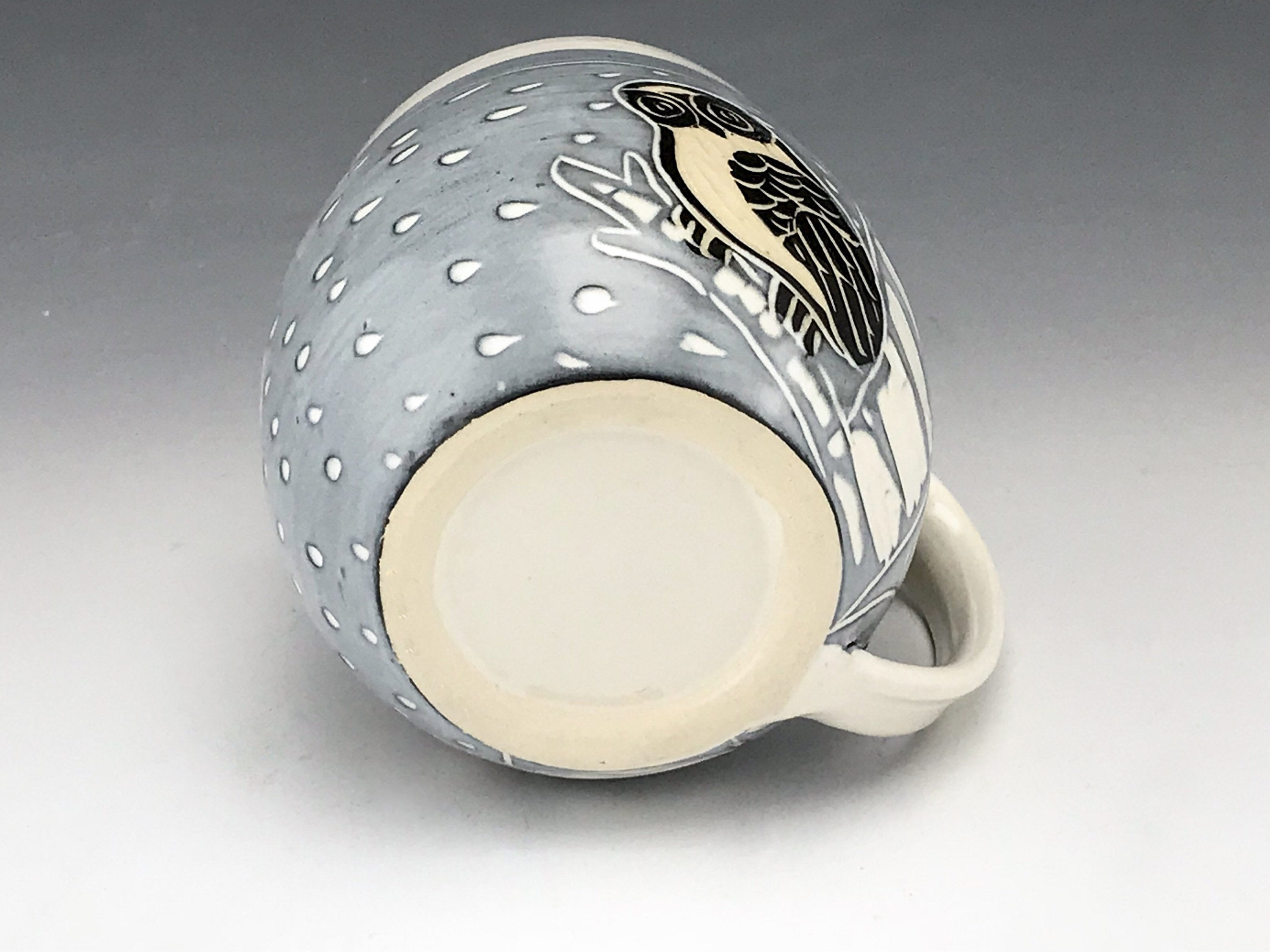 Handmade Sgraffito Owl Pottery Mug in Black and White