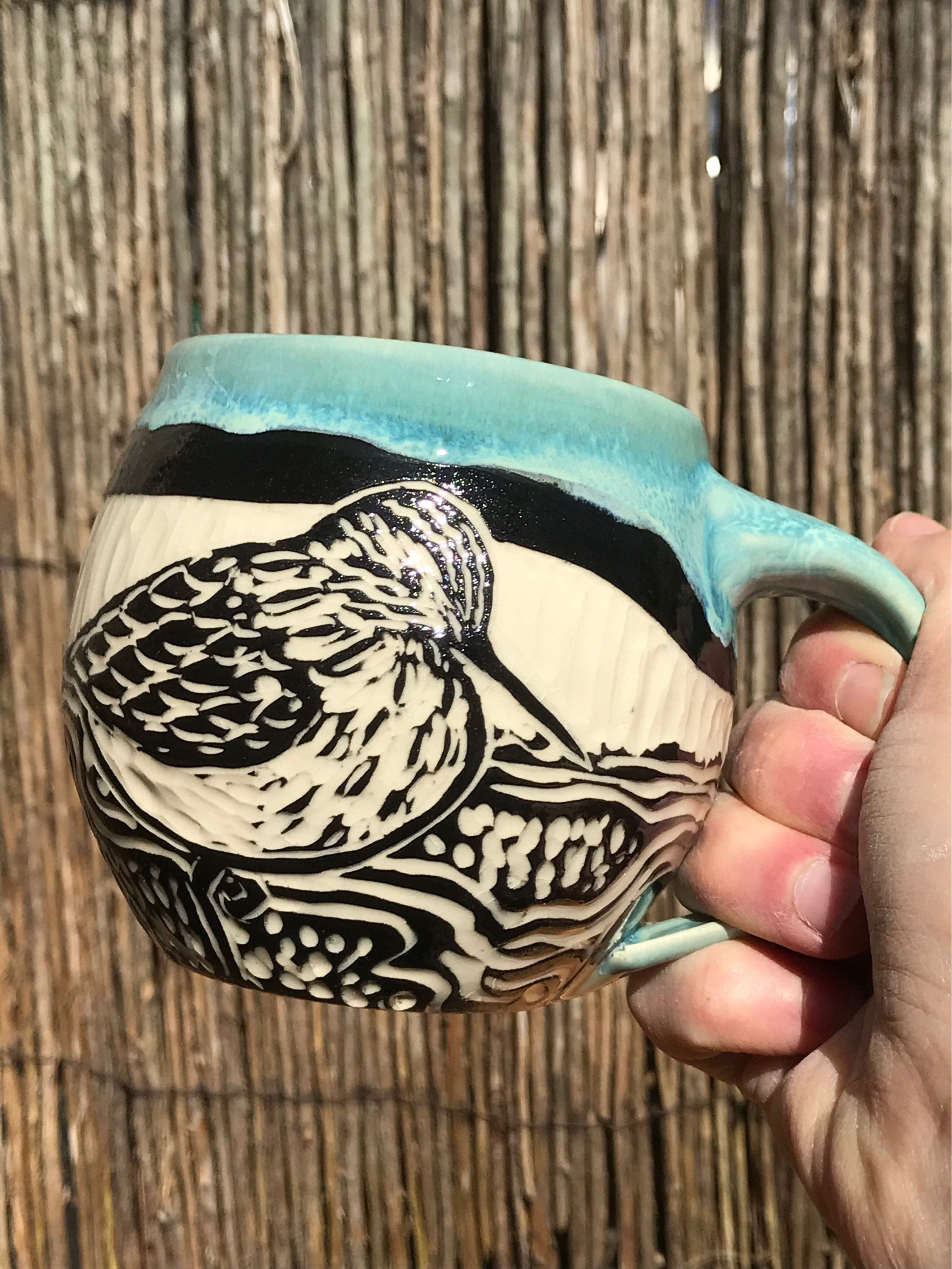 Blue sgraffito sandpiper ceramic coffee mug