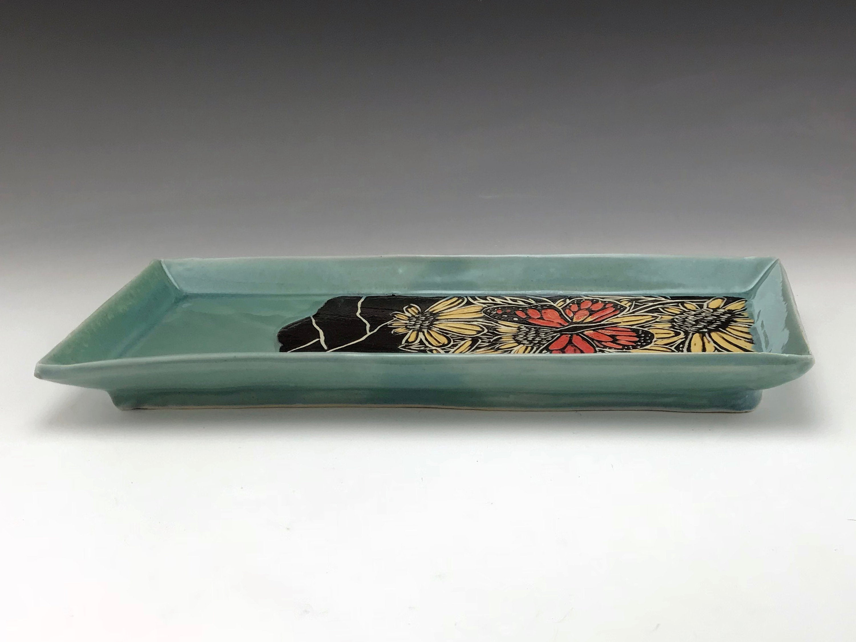 Sgraffito Monarch Butterfly Ceramic Tray in Blue