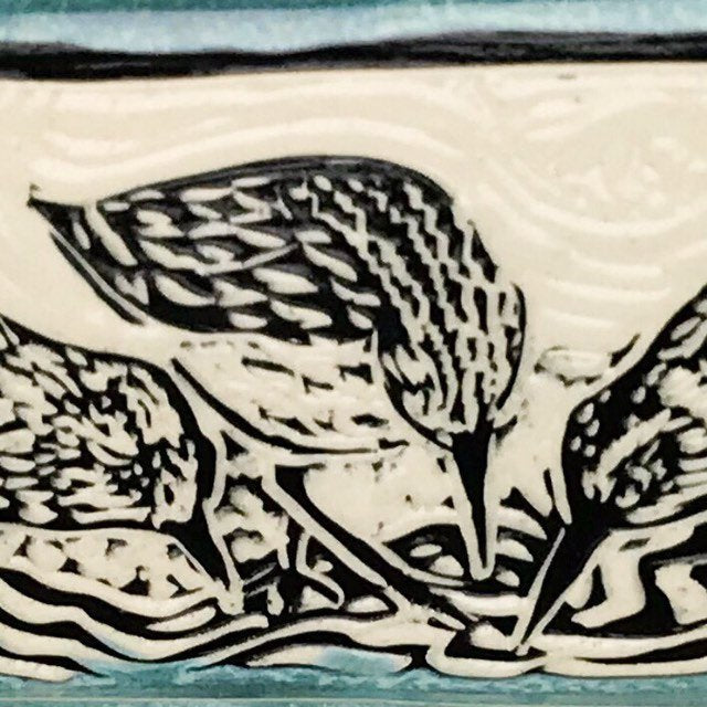 Sgraffito Sandpiper Ceramic Tray in Blue and Black