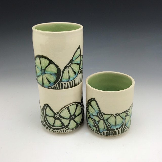 Handmade ceramic lime stacking tumblers