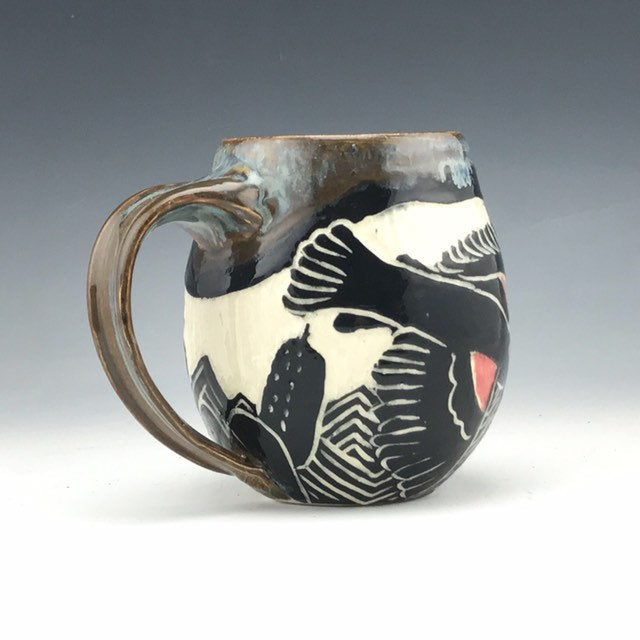 Red-winged Blackbird mug sgraffito pottery in brown gray glaze