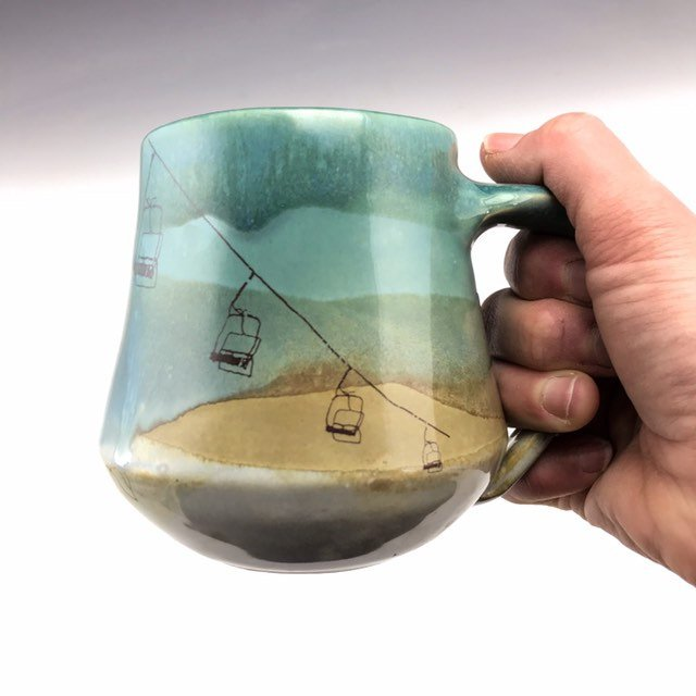 Ski Lift Mountain large pottery mug in blue white and brown