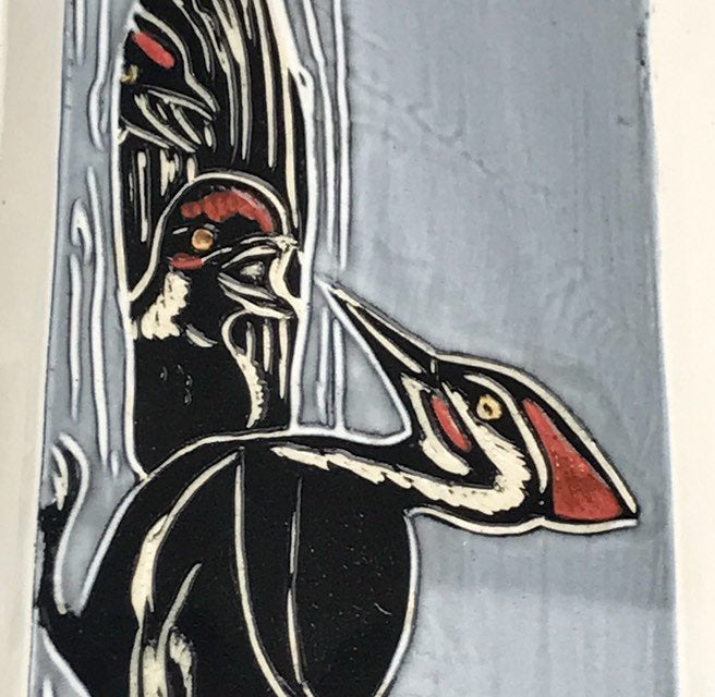 Sgraffito Pileated Woodpecker Ceramic Tray in Black and White and  Red