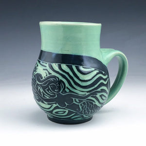Sgraffito Pottery Mermaid Mug in Aqua