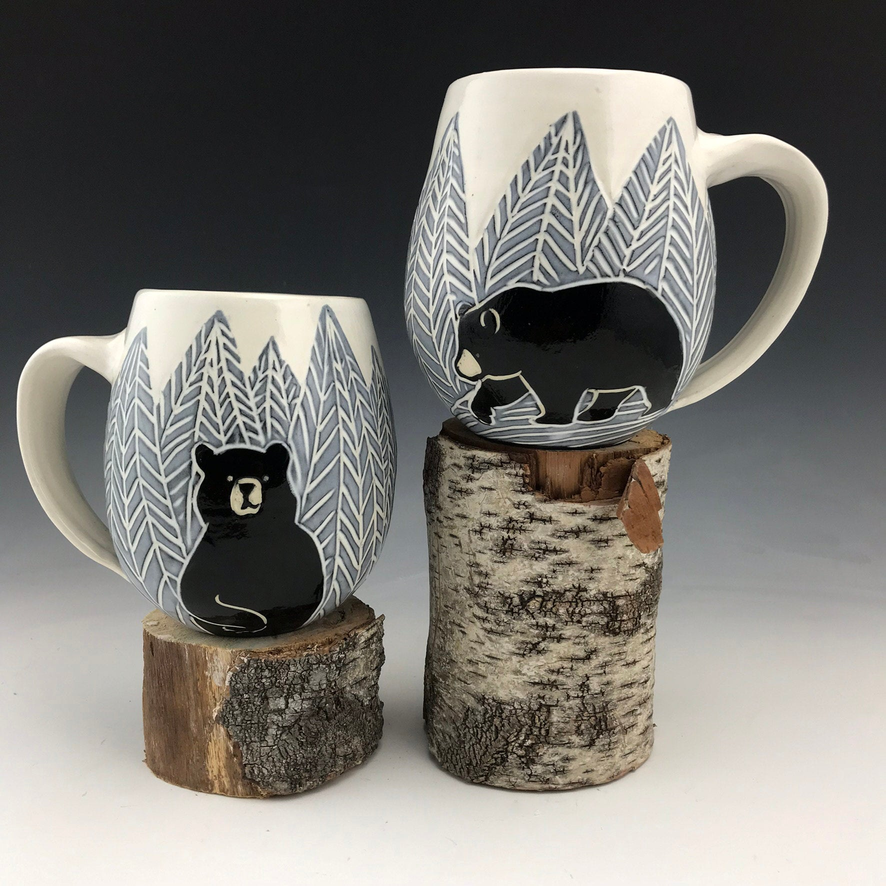 Handmade Sgraffito Bear Pottery Mug in Black and White Herringbone Trees