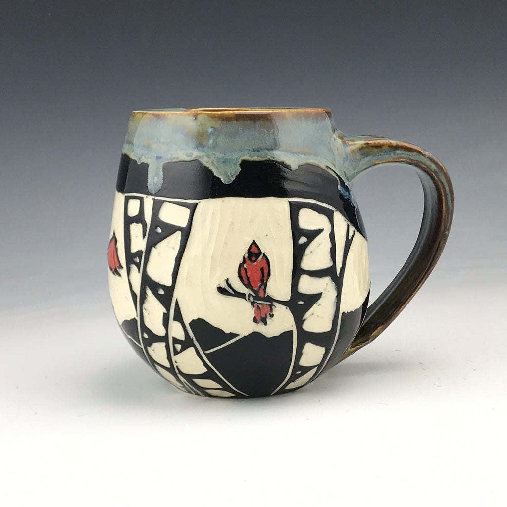 Sgraffito Birch with Cardinals Mug Gray Glaze