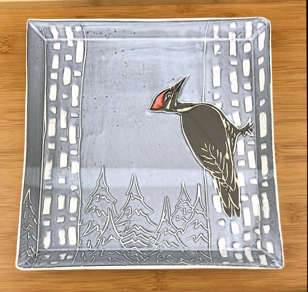 Handmade sgraffito pottery square woodpecker dinner plate in black and white