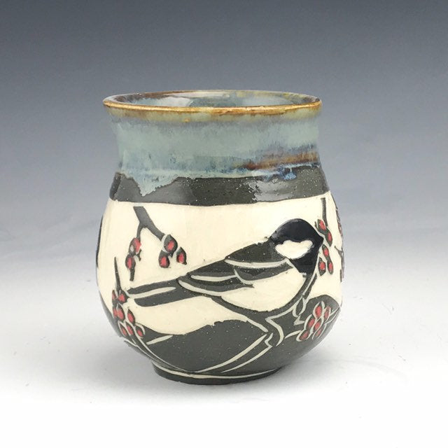 Sgraffito Handmade Pottery Chickadee Tea Bowl in Grey and White with Red Maple Buds
