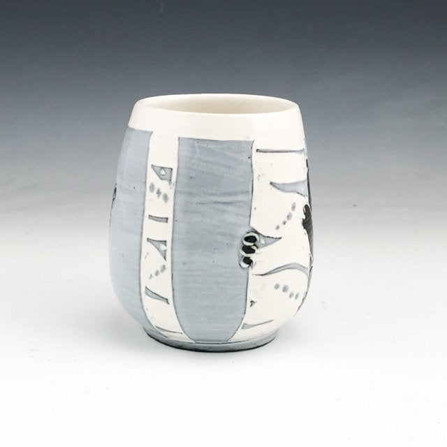 Handmade Sgraffito Bear Pottery Tea Bowl in Black and White Birch Trees