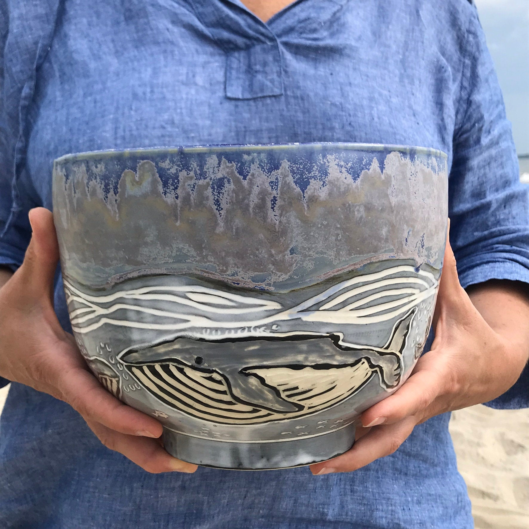 Handmade Sgraffito Ceramic Whale Serving Bowl in Blue