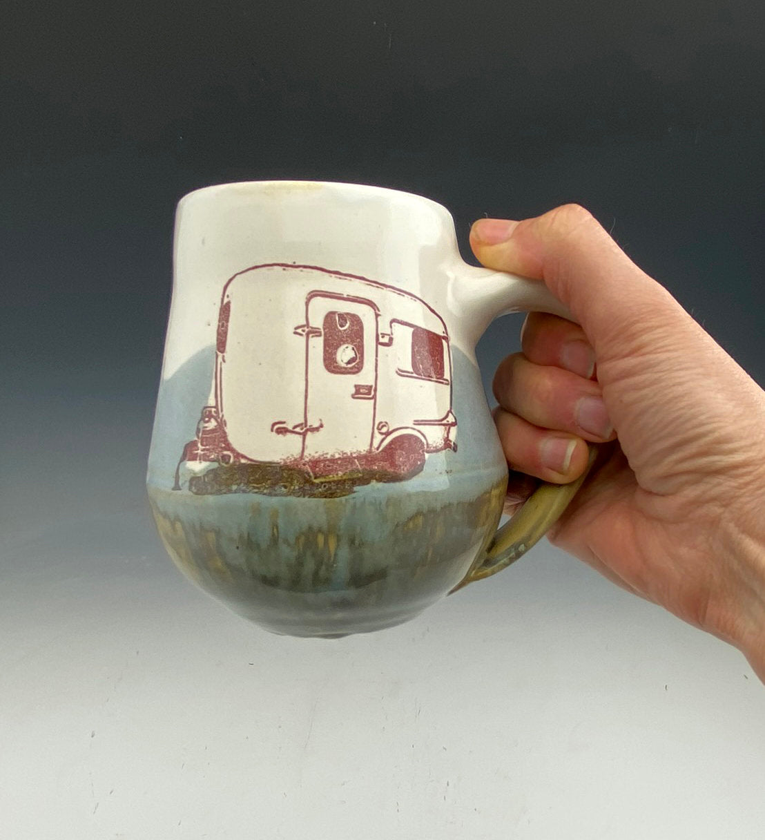 Burro Camper mug in Gray White and Brown