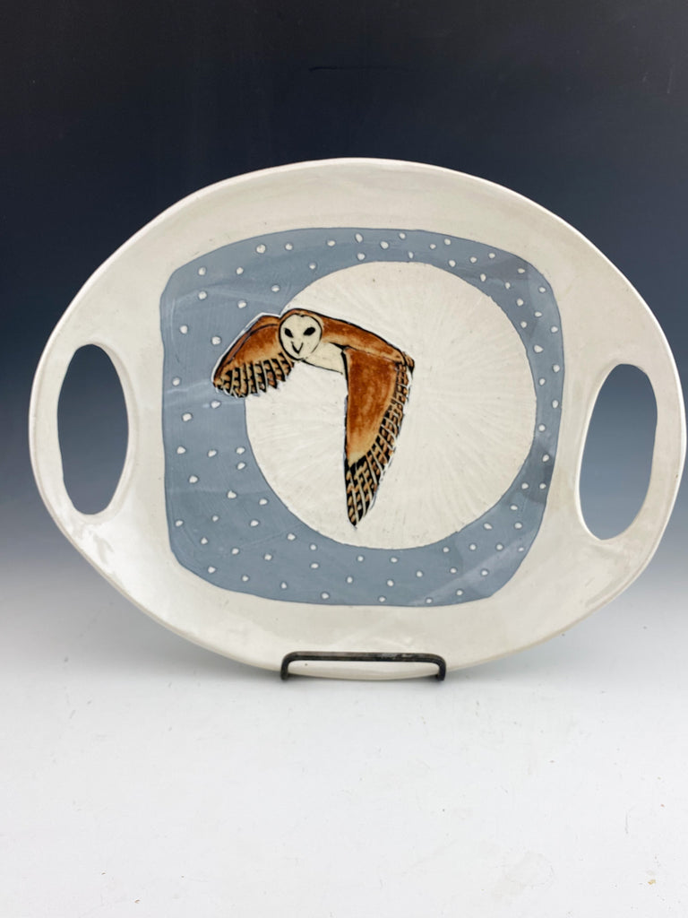 Owl Serving Dish with Handles Sgraffito Handmade Pottery in White