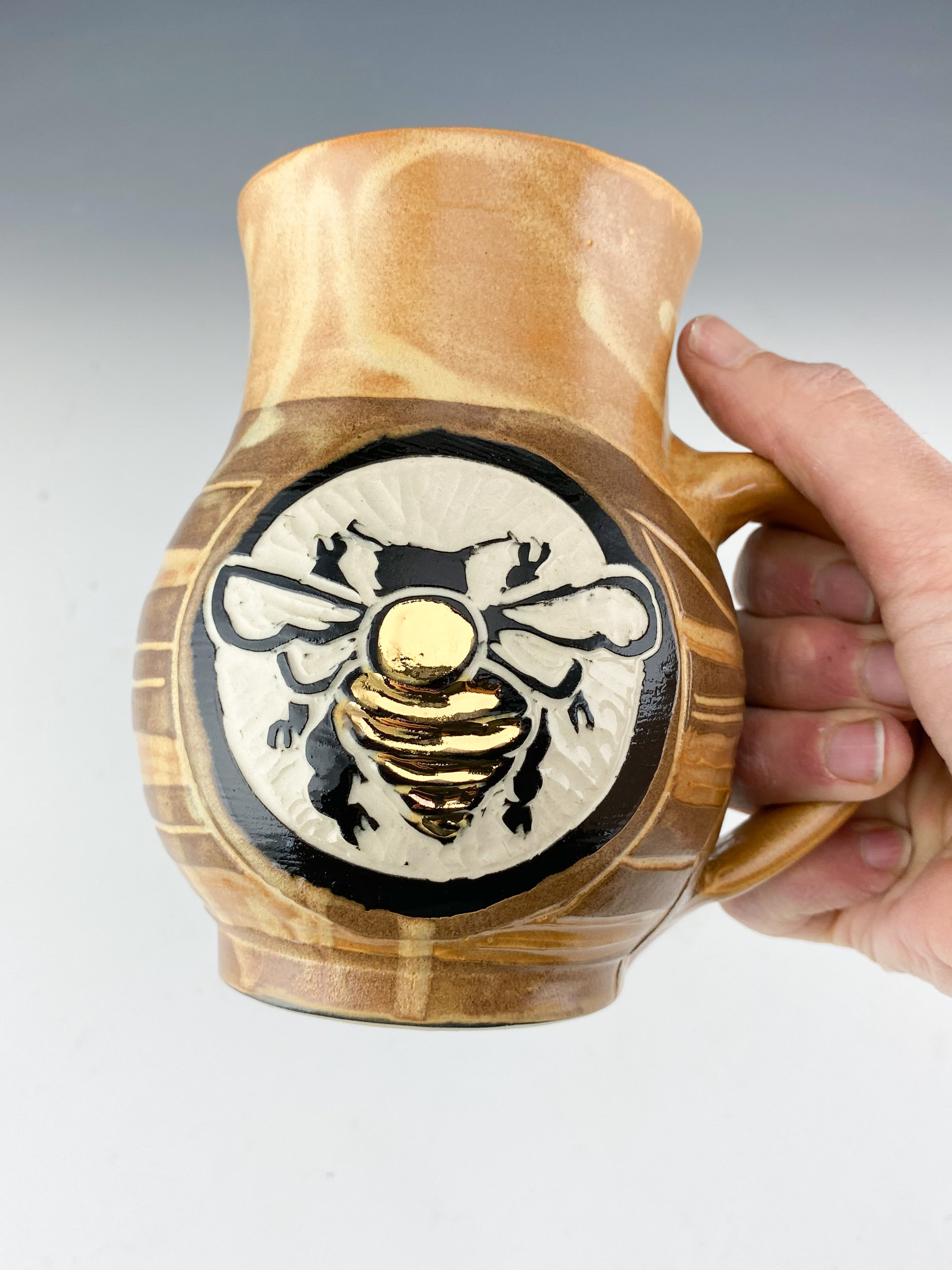 Gold Luster Sgraffito Handmade Pottery Bee Mug in Gold