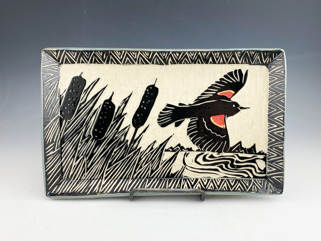 Red Winged Blackbird Sgraffito Pottery tray in gray
