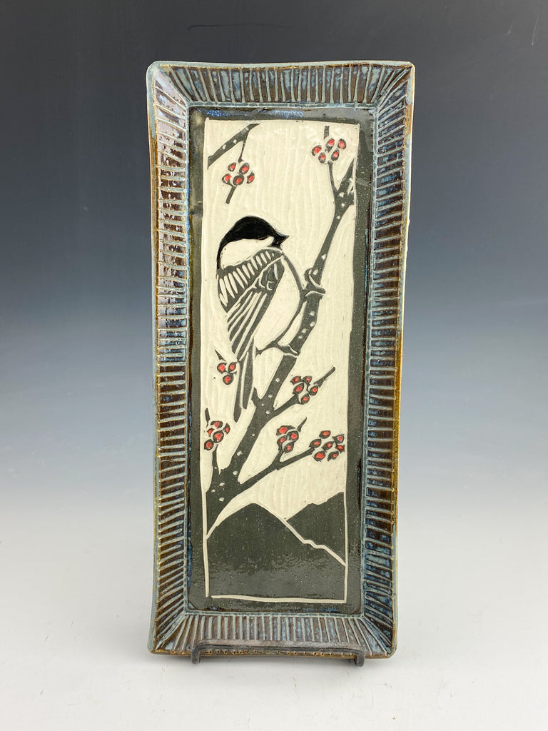 Chickadee Tray Handmade Sgraffito Pottery in Gray