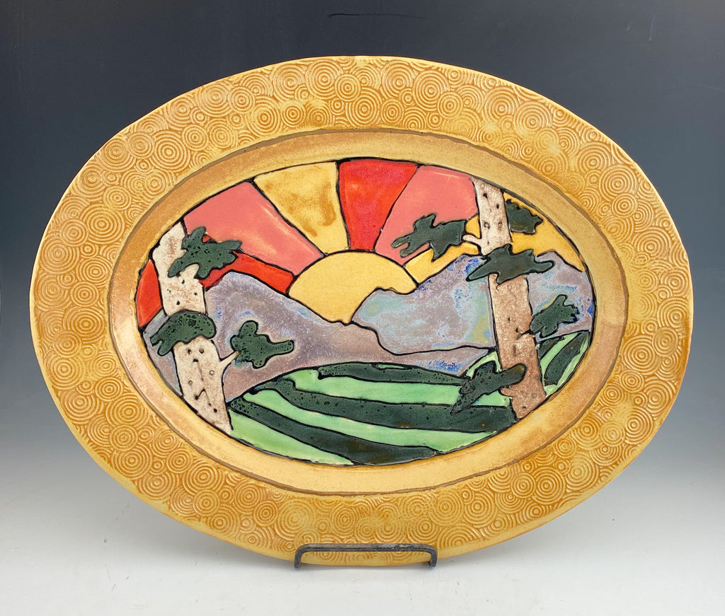 Sunset Large Serving Platter Handmade Sgraffito Pottery in Gold