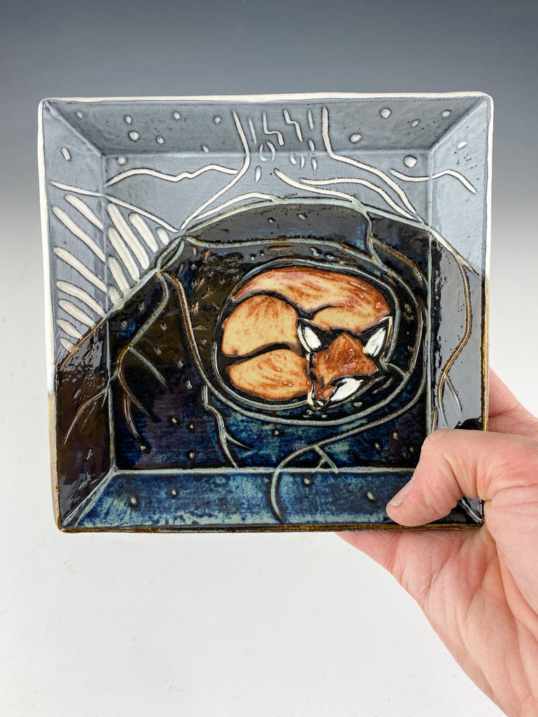 Small handmade sgraffito pottery square fox plate in black and white and gray