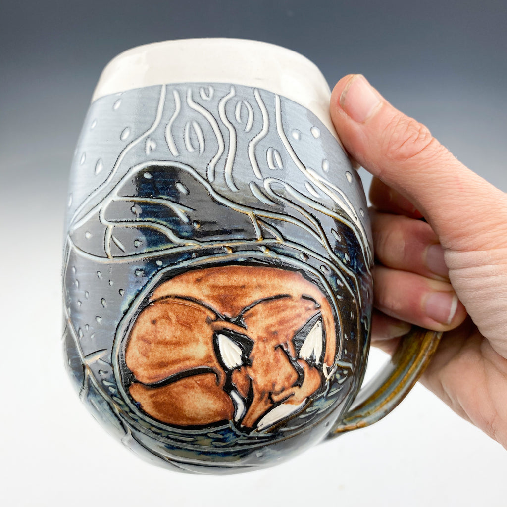 Handmade Sgraffito Fox Pottery Mug in Black and White