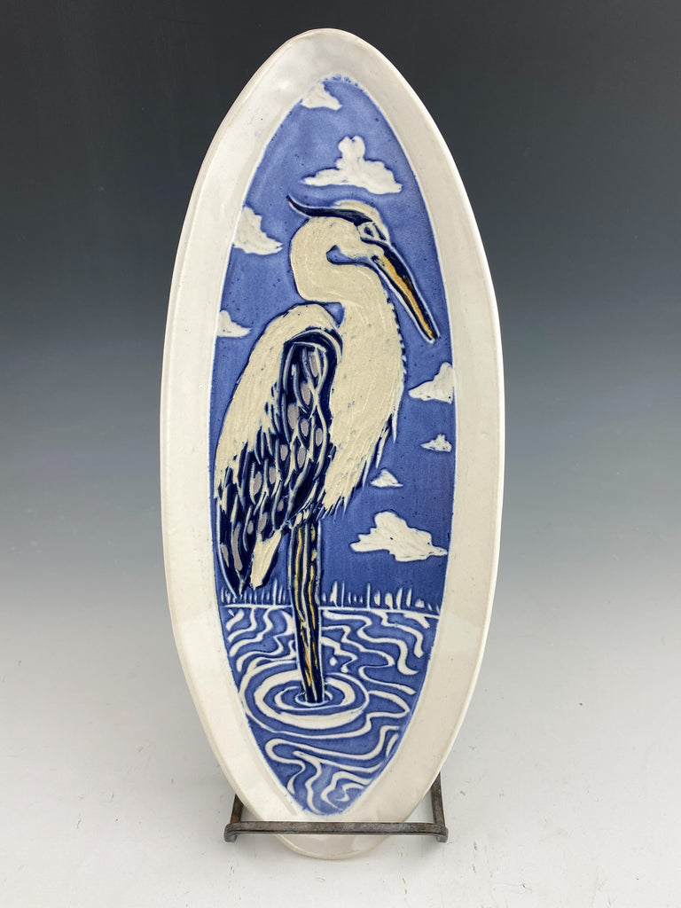 Great Blue Heron Sgraffito Pottery Tray in White