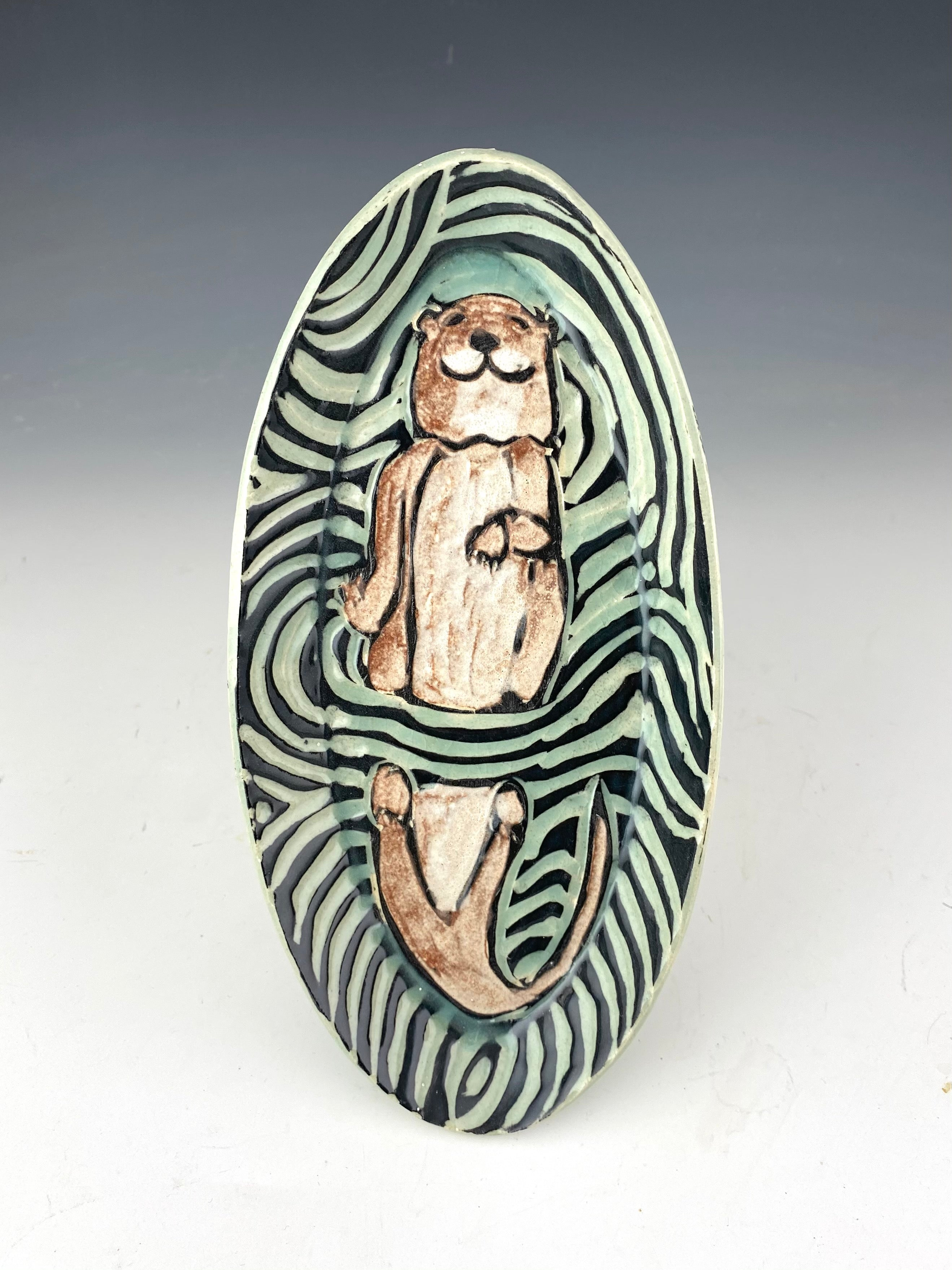 Small Otter Tray in Aqua Handmade Sgraffito Pottery