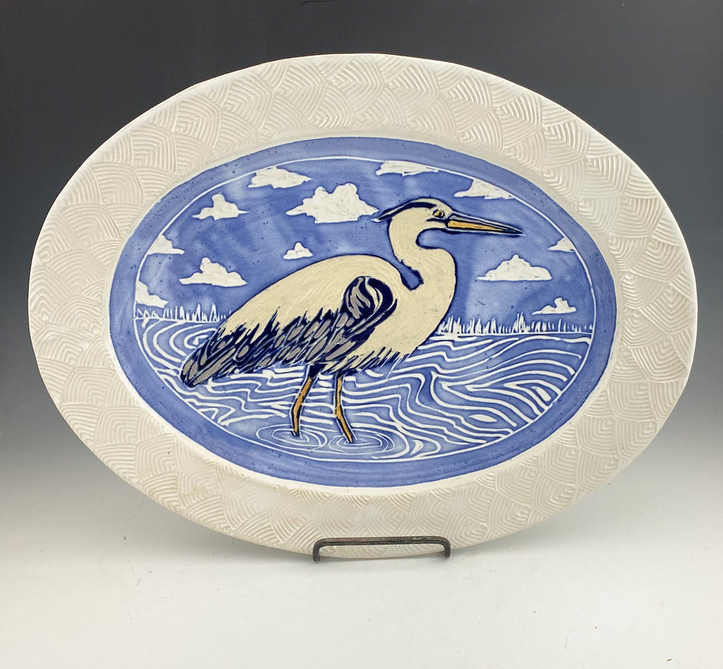 Heron Large Serving Platter Handmade Sgraffito Pottery in White