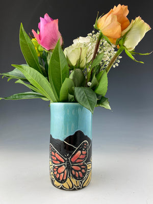 Butterfly vase in blue sgraffito handmade pottery
