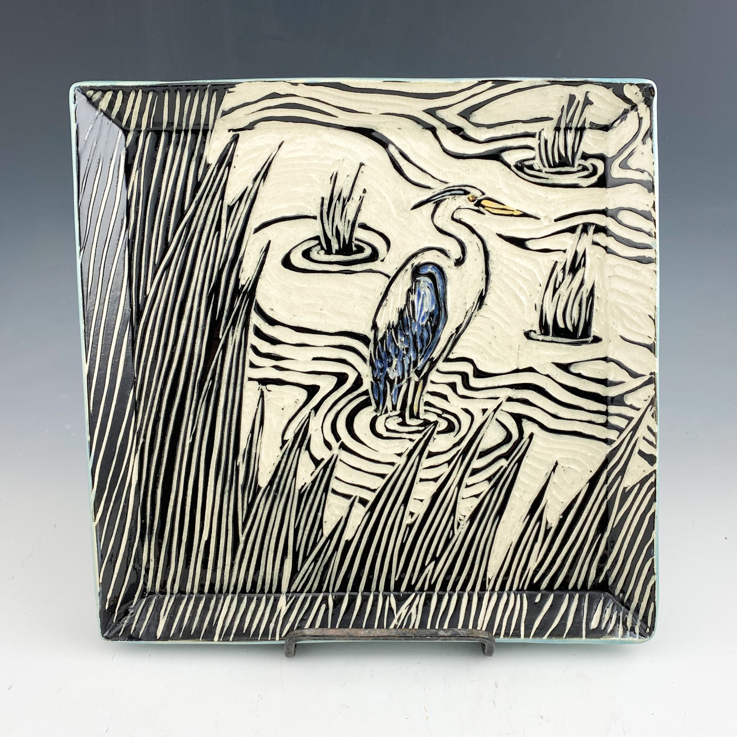 Marsh Wall Art Triptych Sgraffito Pottery in Blue
