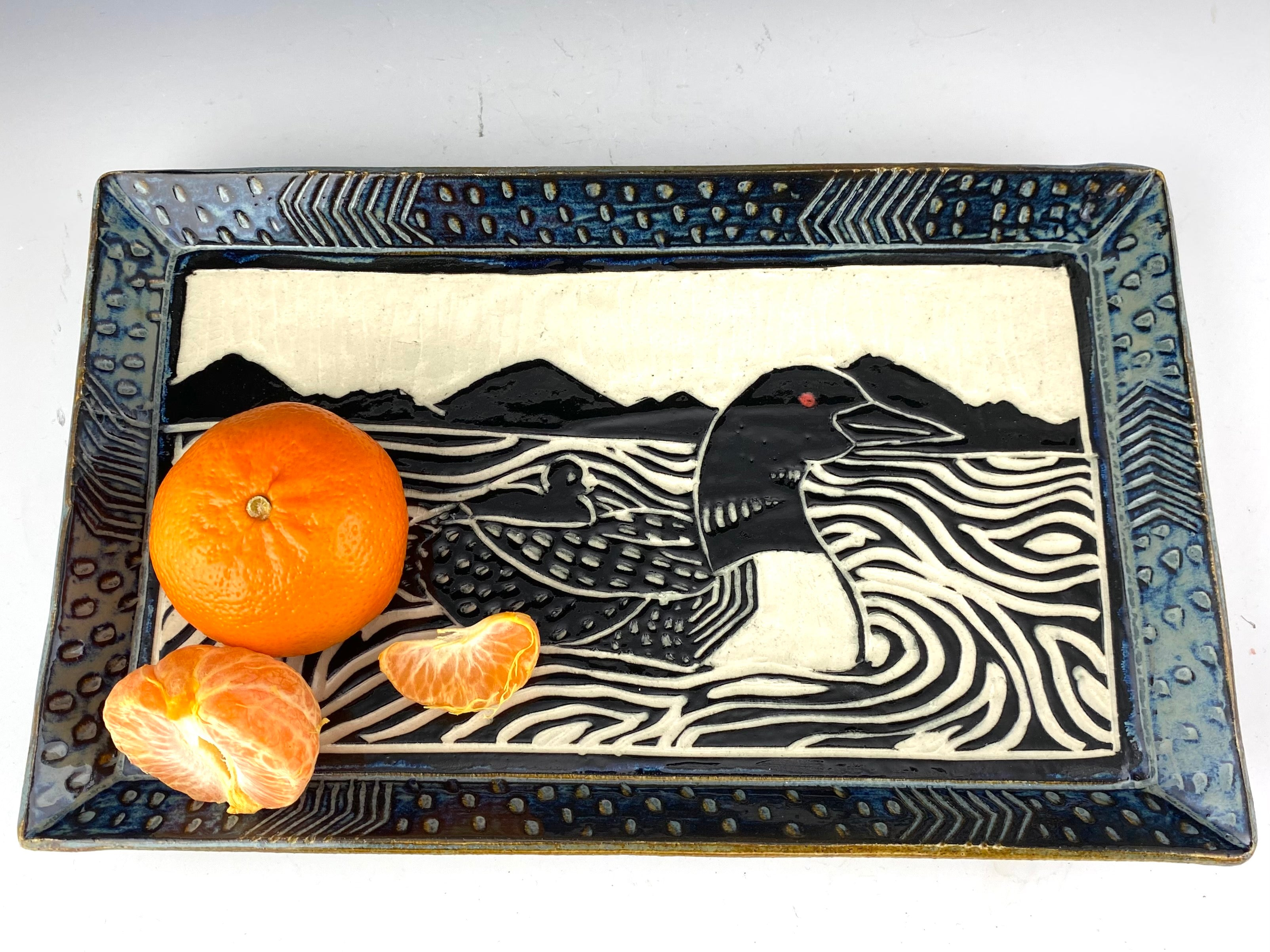 Loon Sgraffito Pottery rectangular tray in gray