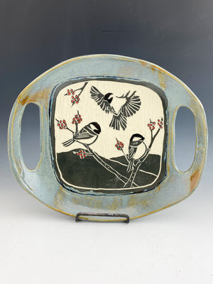 Chickadee Serving Dish with Handles Sgraffito Handmade Pottery in Gray