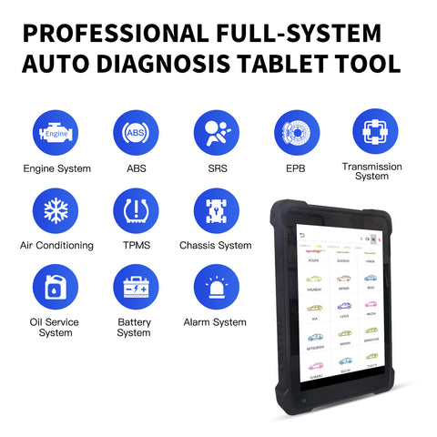 Humzor NexzPad Full System OBD2 8-inch Tablet Scanner Car Diagnostic Tool Key Programmer ABS/EPB/SAS/DPF/Oil Reset