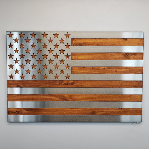 Hand Oiled Pine and Polished Steel US Flag