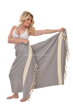 Load image into Gallery viewer, Diamond Turkish Towel - Dark Grey