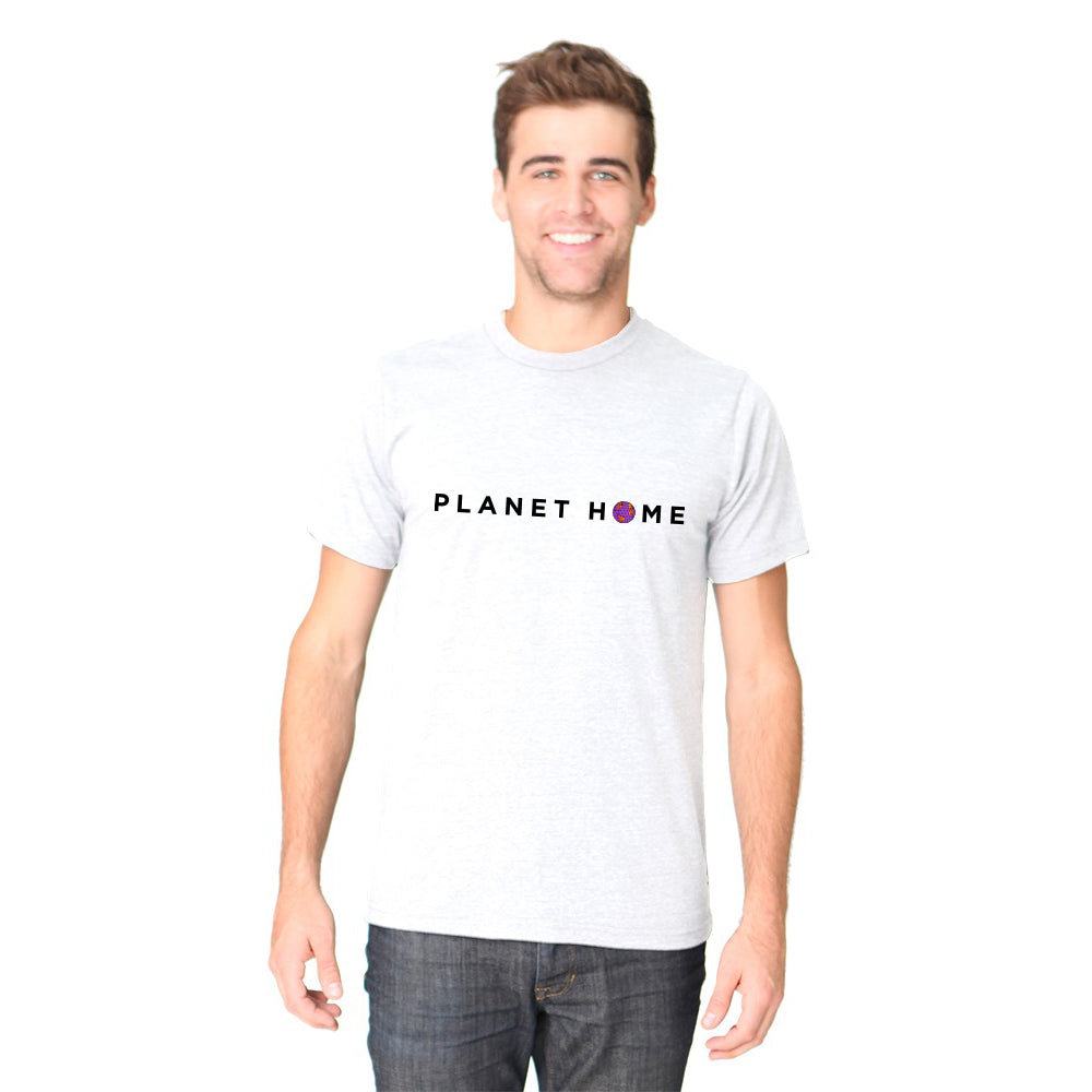 Men's SS Tee - Heather Snow White - 'Planet Home Design'