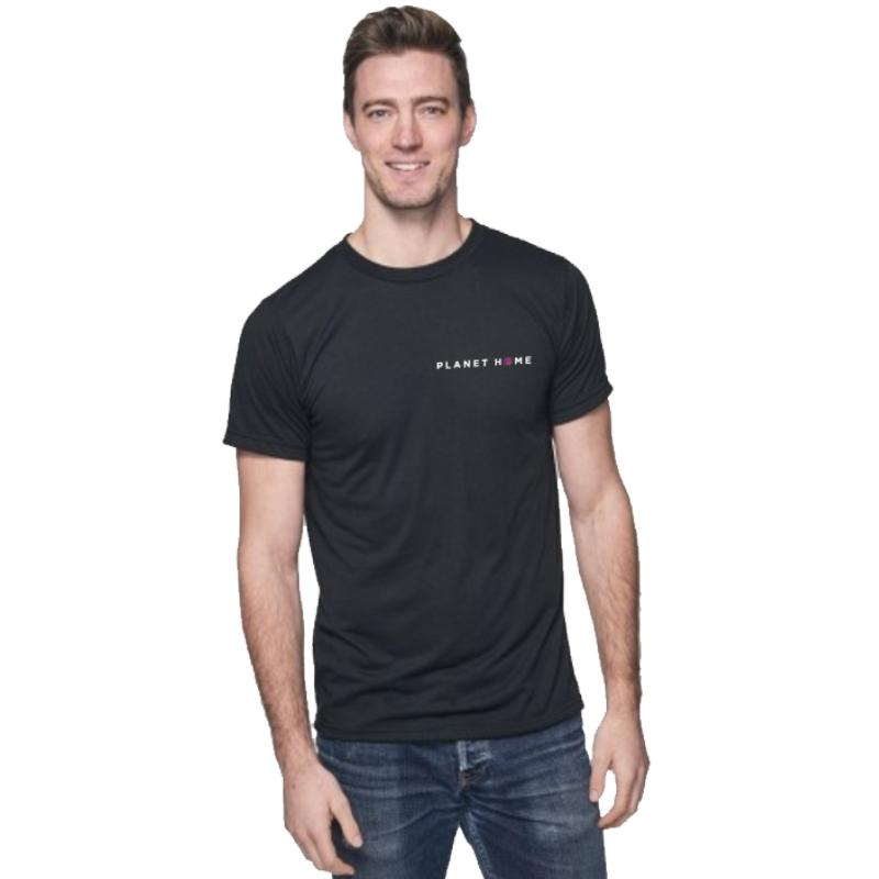 Unisex, short-sleeved, soft and breathable crew-neck tee made with 50% organic 30/1 combed ring-spun cotton and 50% recycled RPET plastic bottle polyester fiber. 4.4 Oz. Made in USA! Item ID: phia131114m