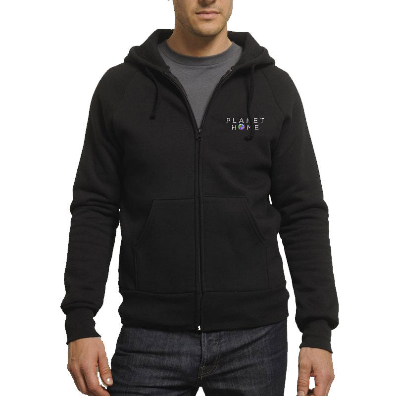 Unisex/Men's Hoodie - Black - 'Planet Home Design'