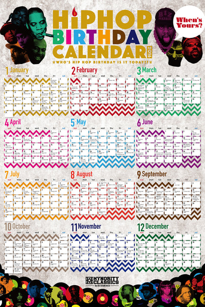 Hip Hop Birthday Calendar 2016