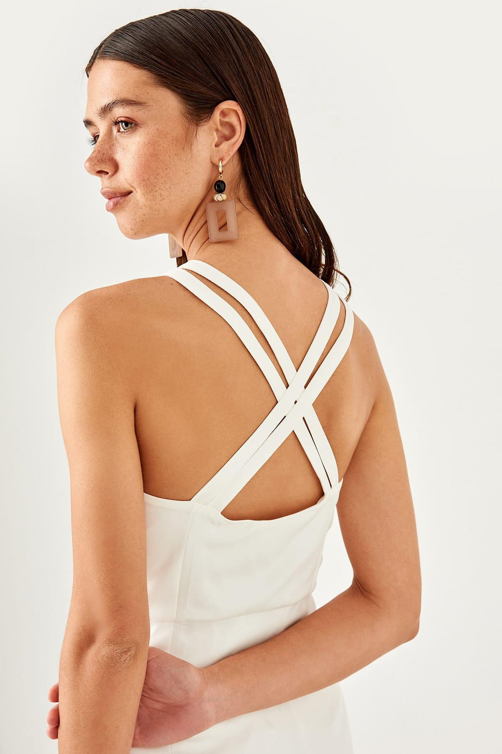 White Cross Halter Dress - Top Maxy