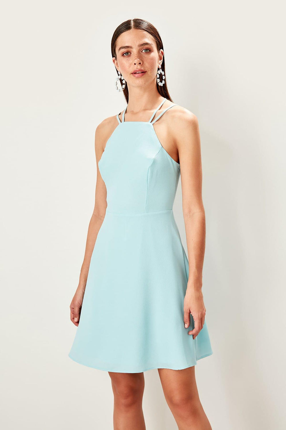 Blue Halter-neck Dress - Top Maxy