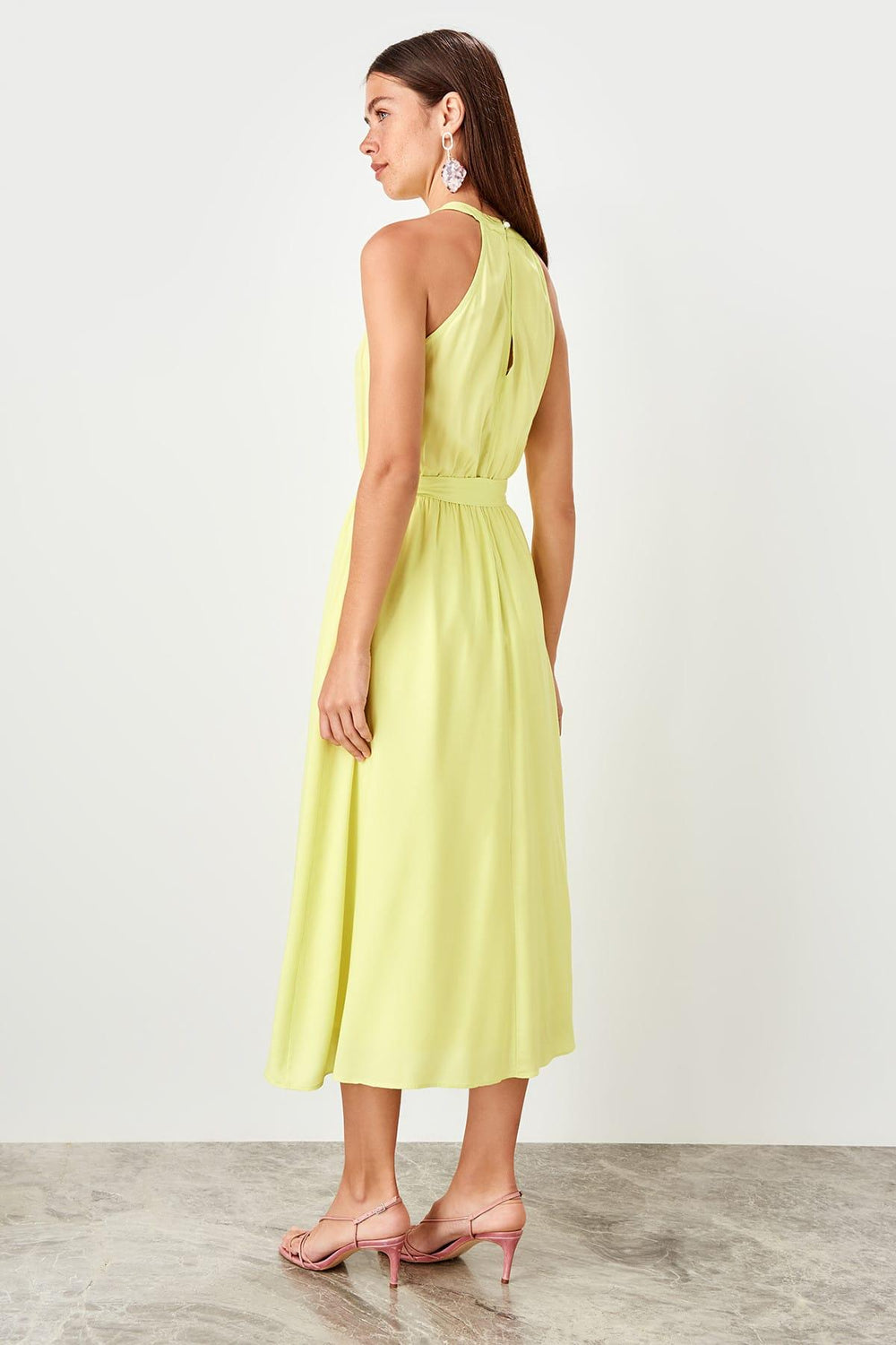 Yellow Gusset Midi Dress - Top Maxy