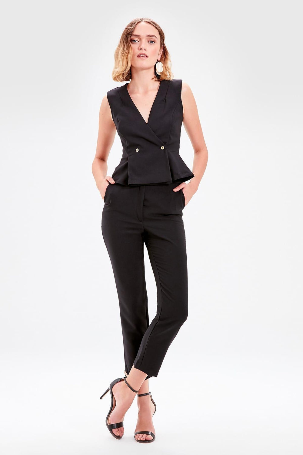 Black Pocket Detail Pants - Top Maxy