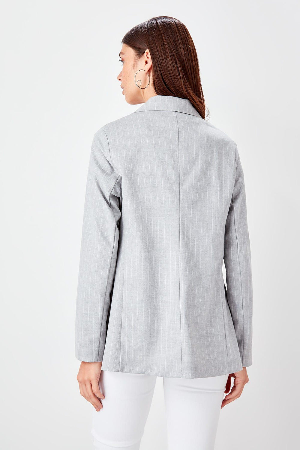 Gray Striped Jacket - Top Maxy
